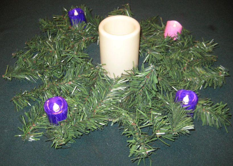Our homemade Advent Wreath.